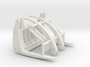1/50th Log forks for Front End Wheel Loader in White Natural Versatile Plastic