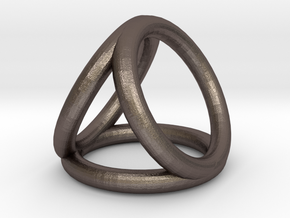 Scarf buckle triple ring with diameter 28mm in Polished Bronzed-Silver Steel