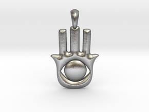 Hamsa-khamsa Hand Necklace Charm. in Natural Silver