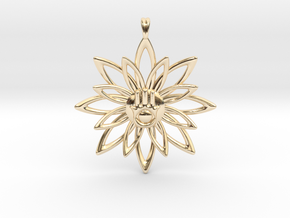 Blooming Hamsa Hand Flower Jewelry Pendant in 14K Yellow Gold