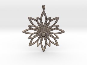 Blooming Hamsa Hand Flower Jewelry Pendant in Polished Bronzed Silver Steel