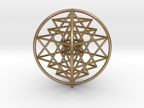 "3D Sri Yantra 4 Sided Optimal 3"" in Polished Gold Steel"