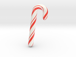 Candy cane - Large in Glossy Full Color Sandstone