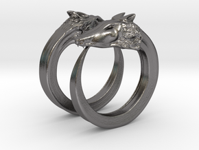 Double wolves ring (1,75cm) in Polished Nickel Steel