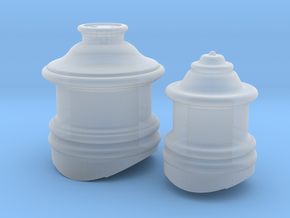 HO Scale Fluted Domes for Steam Locomotive in Smooth Fine Detail Plastic