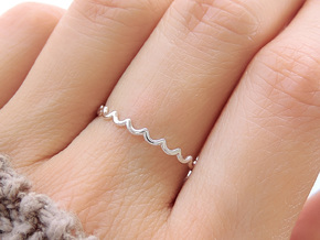 Dainty Water Ripple Ring (Multiple Sizes) in Polished Silver: 6 / 51.5