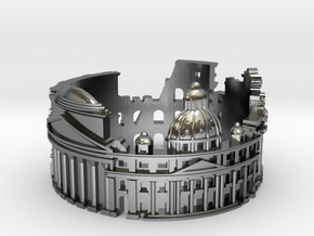 Rome - Skyline Cityscape Ring in Polished Silver: 6 / 51.5