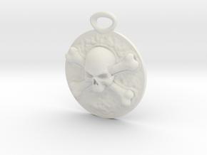 """Concho"" Skull and Crossbones medallion in White Natural Versatile Plastic"