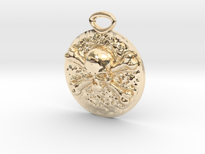 """""""Concho"""" Skull and Crossbones medallion in 14K Yellow Gold"""