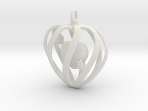 Heart Cage Pendant in White Natural Versatile Plastic