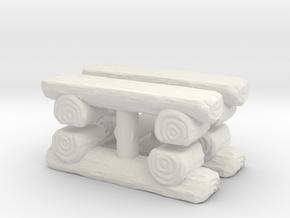 Log Bench (x4) 1/100 in White Natural Versatile Plastic