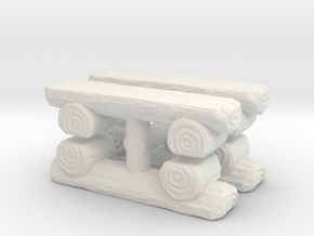 Log Bench (x4) 1/87 in White Natural Versatile Plastic