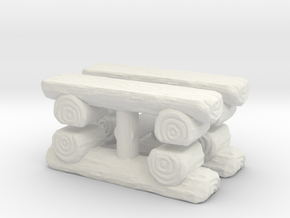 Log Bench (x4) 1/43 in White Natural Versatile Plastic