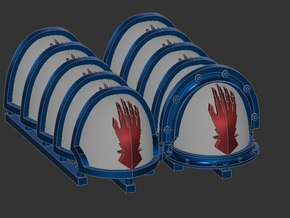 Iron Hands Shoulderpads for 28mm wargames in Smooth Fine Detail Plastic