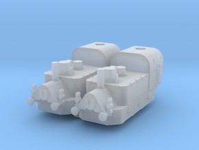 1/350th scale 2 x Armoured Steam Locomotives in Smooth Fine Detail Plastic