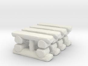 Log Bench (x8) 1/285 in White Natural Versatile Plastic