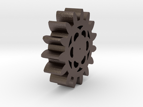 Indira_Cruz_Small Gear in Polished Bronzed-Silver Steel: 15mm