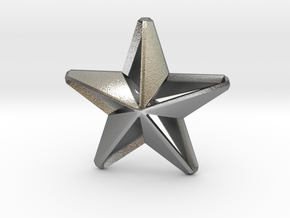 Five pointed star earring assemble Xmas-Medium 2cm in Natural Silver
