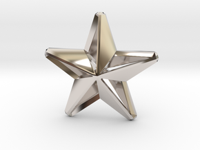 Five pointed star earring assemble Xmas-Medium 2cm in Rhodium Plated Brass
