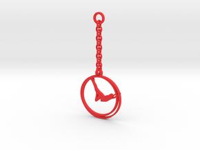 Straight_GymWheel_KeyChain in Red Processed Versatile Plastic: Small