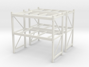 1/64th Shop or Warehouse pallet rack shelving (2) in White Natural Versatile Plastic