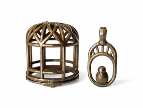 Birdcage - With Love - Bottle Opener in Polished Bronze Steel