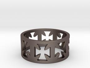 Outlaw Biker Cross Ring Size 11 in Polished Bronzed Silver Steel