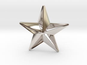 Five pointed star earring - Large 5cm in Rhodium Plated Brass
