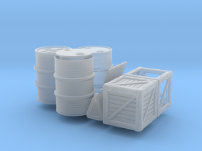 DRUMS AND CRATES GERMAN 1/35 SET in Smooth Fine Detail Plastic