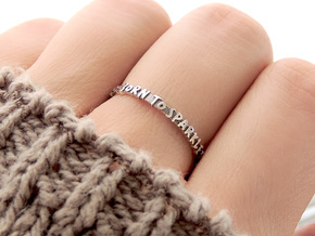 Born To Sparkle Ring (Multiple Sizes) in Polished Silver: 6 / 51.5
