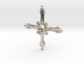 Cross Bone Pendant in Rhodium Plated Brass