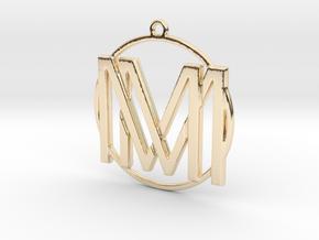 M&M Monogram Pendant in 14k Gold Plated Brass