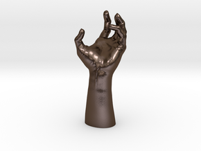 Zombie Hand - Reaching in Polished Bronze Steel