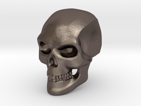 3D Printed Skull - Small in Polished Bronzed Silver Steel