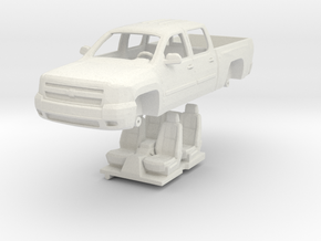 1:64 Chevy Silverado 4 door in White Natural Versatile Plastic