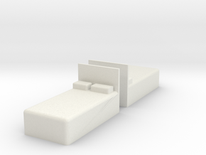 Twin Bed (x2) 1/76 in White Natural Versatile Plastic