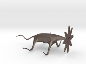Crawling Monster Flower in Polished Bronzed-Silver Steel: Extra Small