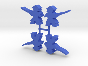Samurai Meeple, Spearman, 4-set in Blue Processed Versatile Plastic