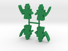 Samurai Lord Meeple, Sword, Topknot, 4-set in Green Processed Versatile Plastic
