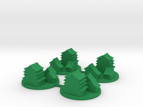 Ancient Asian-style City Token, 4-set in Green Processed Versatile Plastic