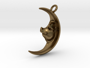 Pig in the Moon Pendant in Natural Bronze