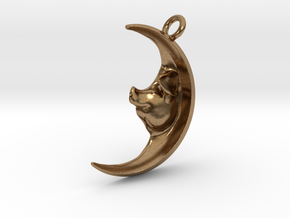 Pig in the Moon Pendant in Natural Brass