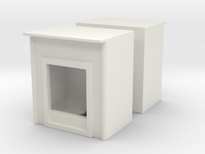 Fireplace (x2) 1/76 in White Natural Versatile Plastic