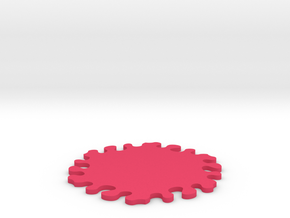 Drink Coaster - Jigsaw Interlocking - Splat Design in Pink Processed Versatile Plastic