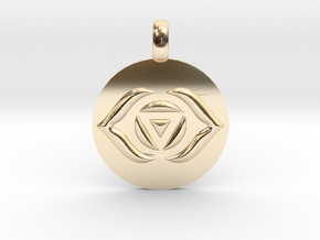 AJNA THIRD EYE Chakra Symbol jewelry Pendant in 14K Yellow Gold