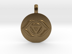 AJNA THIRD EYE Chakra Symbol jewelry Pendant in Natural Bronze