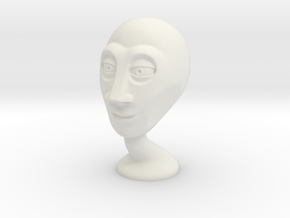 Stylized alien head in White Natural Versatile Plastic