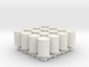 1-87 Scale 55 Gallon Drums x16 in White Natural Versatile Plastic