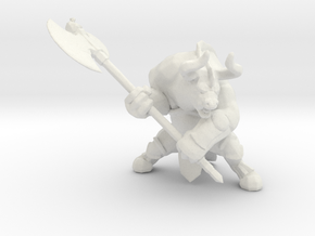Minotaur with Axe DnD miniature games rpg dungeons in White Natural Versatile Plastic