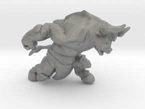 Minotaur charging DnD miniature games rpg dungeons in Gray PA12